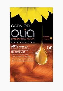 """Краска для волос Garnier """"Olia"""", стойкая, без аммиака, оттенок 7.40, Искрящийся медный"""