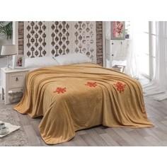 Покрывало Karna вельсофт с вышивкой Damask 160x220 см (2009/CHAR001)