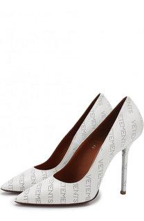 Кожаные туфли с логотипом бренда на шпильке Vetements
