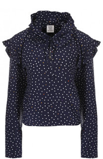 Шелковая блуза с оборками и принтом Vetements