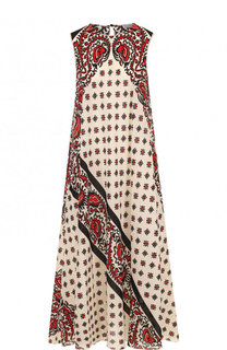 Шелковое платье свободного кроя с принтом REDVALENTINO
