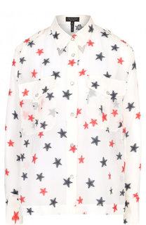 Шелковая блуза свободного кроя с рисунком Rag&Bone Rag&;Bone