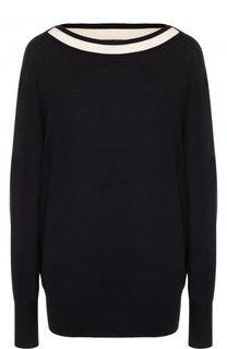 Шерстяной пуловер свободного кроя с вырезом-лодочка BOSS