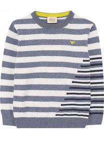 Хлопковый пуловер в полоску Armani Junior