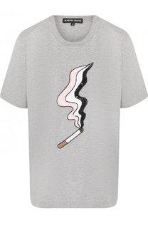Хлопковая футболка с круглым вырезом и пайетками Markus Lupfer