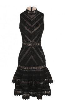 Приталенное кружевное платье с оборками Alice + Olivia