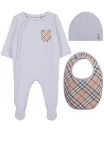 Хлопковый комплект из пижамы с шапкой и нагрудником Burberry