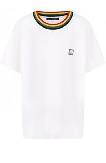 Хлопковая футболка свободного кроя с контрастной отделкой Acne Studios