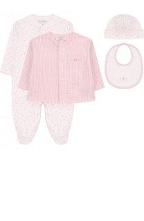Хлопковый комплект из пижамы с шапкой и распашонки с нагрудником Kissy Kissy