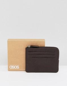 Кожаный кошелек на молнии с отделениями для карт ASOS - Коричневый