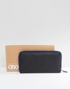 Черный кожаный дорожный бумажник для документов с контрастной темно-синей молнией ASOS - Черный