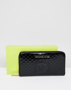 Стеганый кошелек на молнии Versace Jeans - Черный