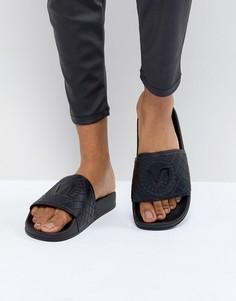Шлепанцы со стеганой отделкой и логотипом Versace Jeans - Черный