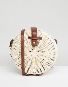 Круглая соломенная сумка с ремешками из полиуретана ASOS DESIGN - Светло-бежевый