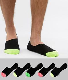 Набор из 5 пар невидимых носков с неоновыми вставками ASOS DESIGN - Черный