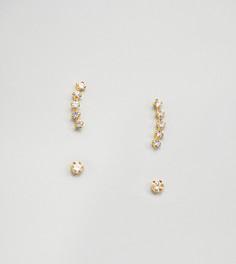 Позолоченные серьги-гвоздики со стразами Kingsley Ryan - Золотой