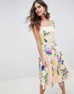 Платье для выпускного с квадратным вырезом и цветочным принтом ASOS DESIGN - Мульти