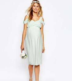 Платье-футляр миди для беременных с вырезами на плечах ASOS Maternity - Зеленый