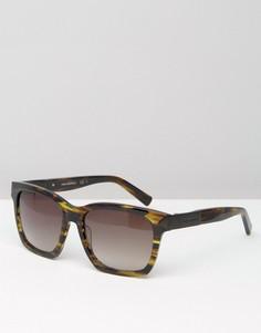 Коричневые квадратные солнцезащитные очки с мраморным принтом Karl Lagerfeld - Зеленый
