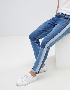 Синие джинсы скинни с полосками по бокам ASOS - Синий