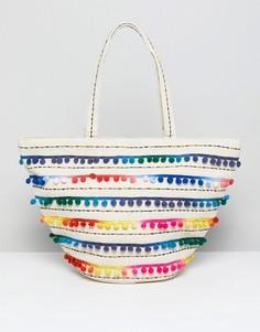 Пляжная сумка с вышивкой и эффектом тай-дай America & Beyond - Мульти