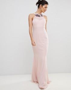 Шифоновое платье-халтер макси с цветами City Goddess - Розовый