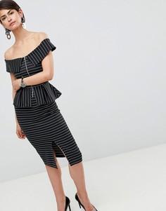 Платье-футляр в тонкую полоску с открытыми плечами, баской и молнией ASOS DESIGN - Мульти