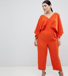 Комбинезон с рукавами-кимоно и широкими брюками ASOS DESIGN Curve - Оранжевый