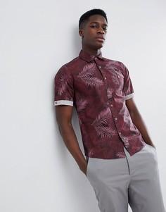 Рубашка с короткими рукавами и пальмовым принтом Gandys Burgundy - Красный