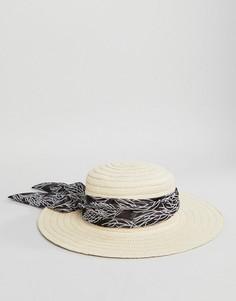 Широкополая пляжная шляпа с отделкой шарфом Boardmans - Светло-бежевый