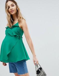 Топ на бретелях с запахом и оборками ASOS DESIGN Maternity - Зеленый