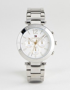 Серебристые наручные часы 38 мм с хронографом Tommy Hilfiger 1781877 - Серебряный