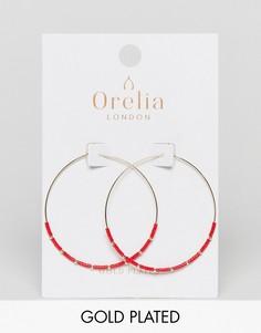 Серьги-кольца с бусинами Orelia - Золотой