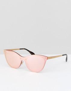 Розовые солнцезащитные очки кошачий глаз с плоскими стеклами Ray Ban - Розовый