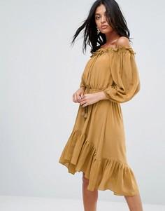 Шелковое платье с открытыми плечами с кисточками To Be Adored Lorna - Рыжий