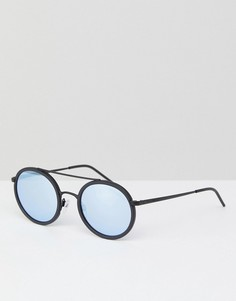 Большие круглые солнцезащитные очки в черной оправе 53 мм Emporio Armani 0EA2058 - Черный