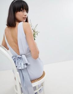 Платье макси из сатина с бантом на спине TFNC - Серый