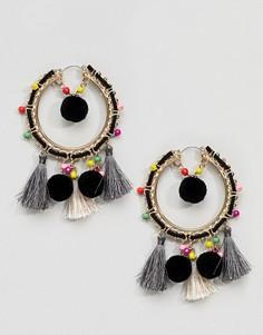 Серьги-кольца с помпонами, кисточками и разноцветным бисером ASOS DESIGN - Золотой