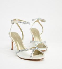 Босоножки на каблуке с отделкой ASOS HEART BEAT Bridal - Кремовый