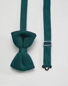 Зеленый трикотажный галстук-бабочка ASOS DESIGN - Зеленый