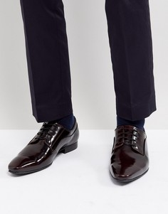 Бордовые блестящие туфли дерби на шнуровке Dune - Красный