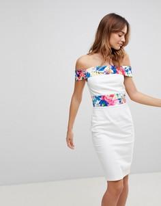 Платье с открытыми плечами и принтом Paper Dolls - Мульти
