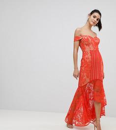 Кружевное платье миди с открытыми плечами Jarlo - Оранжевый