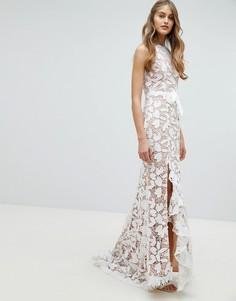 Кружевное платье макси с поясом Jarlo - Белый