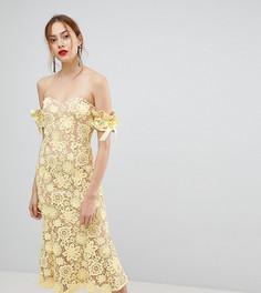 Кружевное платье миди с широким вырезом и завязками на рукавах Jarlo Tall - Желтый