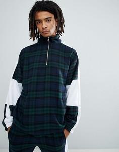 Зеленая куртка в клетку с молнией 1/4 Granted - Зеленый