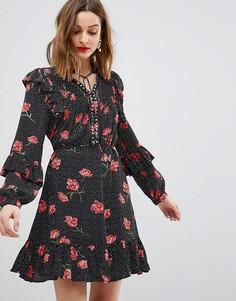 Приталенное платье с цветочным принтом River Island - Черный
