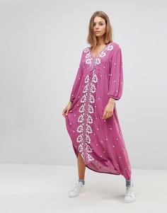 Платье макси с V-образным вырезом и вышивкой Free People - Розовый