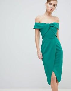 Платье-футляр миди со спущенными плечами и декоративным узлом Lavish Alice - Зеленый