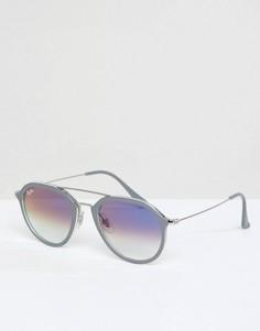 Круглые солнцезащитные очки с двойной переносицей Ray-Ban 0RB4253 - Серый